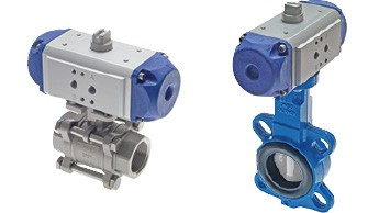 Pneumatically actuated ball valves &  Butterfly/flap valves