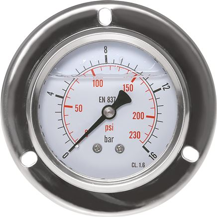 Glycerine built-in pressure gauge with large front ring for panel mounting, Eco-Line